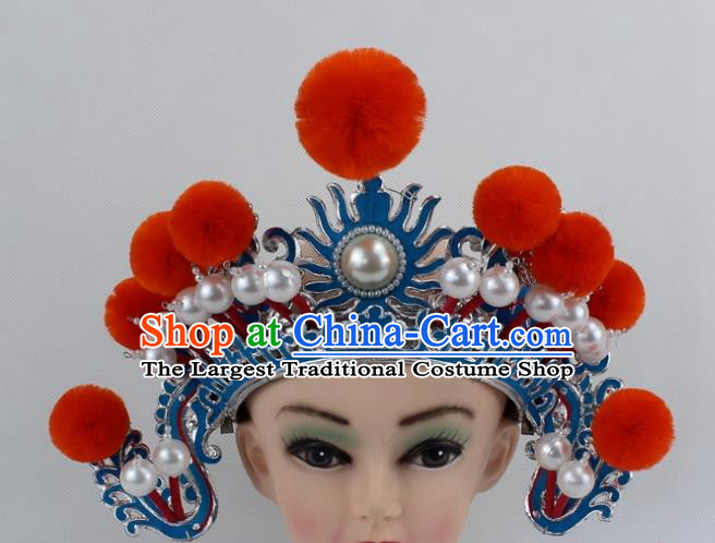 Chinese Traditional Peking Opera Blues Orange Venonat Helmet Ancient Magic Warriors Hat for Women