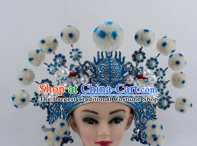Chinese Traditional Peking Opera Takefu White Venonat Helmet Ancient Warriors Hat for Men