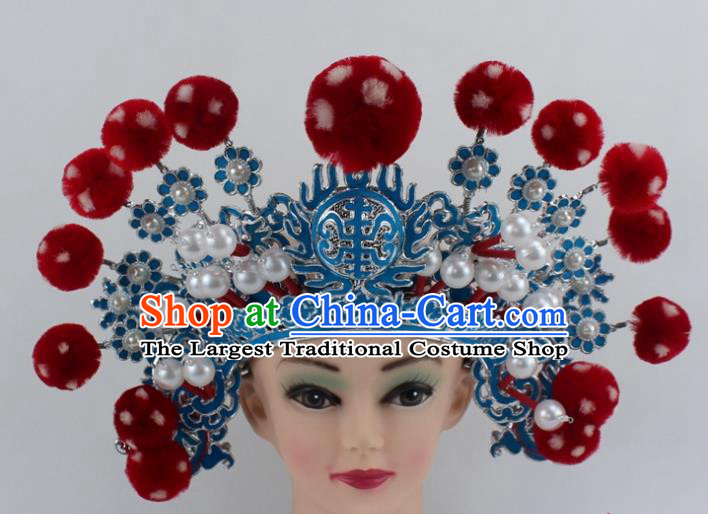 Chinese Traditional Peking Opera Takefu Red Venonat Helmet Ancient Warriors Hat for Men
