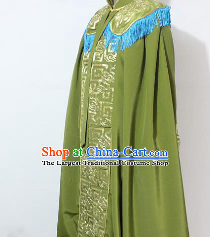 Chinese Traditional Peking Opera Old Lady Costumes Ancient Female General Embroidered Green Cloak for Women