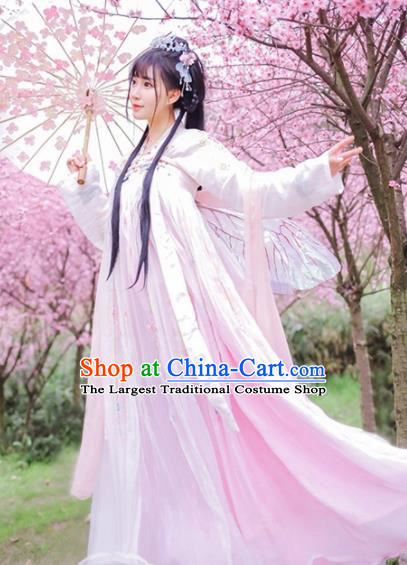 Traditional Chinese Ancient Peri Goddess Embroidered Costumes Tang Dynasty Princess Hanfu Dress for Women