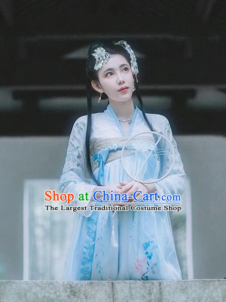 Traditional Chinese Ancient Tang Dynasty Princess Peri Goddess Embroidered Costumes Hanfu Dress for Women