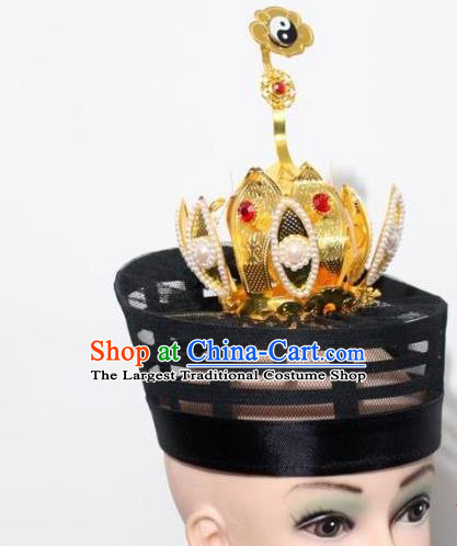 Chinese Traditional Peking Opera Hair Accessories Ancient Taoist Hairpins Lotus Crown for Men