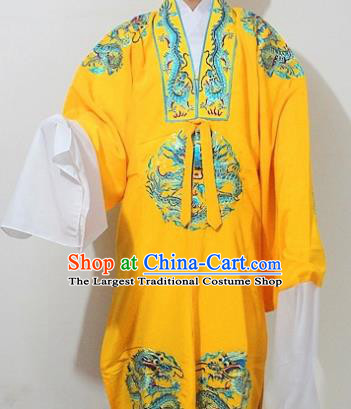 Chinese Traditional Peking Opera Emperor Yellow Embroidered Robe Ancient King Costume for Men