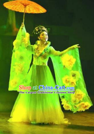 Chinese Classical Dance Stage Performance Costumes Ancient Tang Dynasty Imperial Consort Green Hanfu Dress for Women