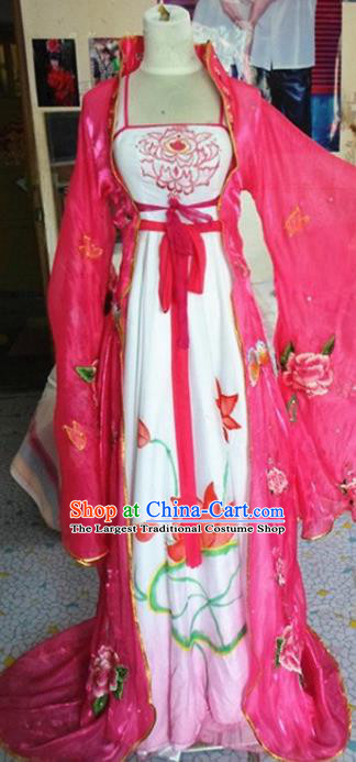 Traditional Chinese Classical Dance Costumes Ancient Imperial Consort Embroidered Rosy Hanfu Dress for Women