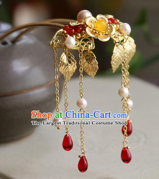 Chinese Traditional Hair Accessories Ancient Handmade Golden Tassel Hairpins for Women