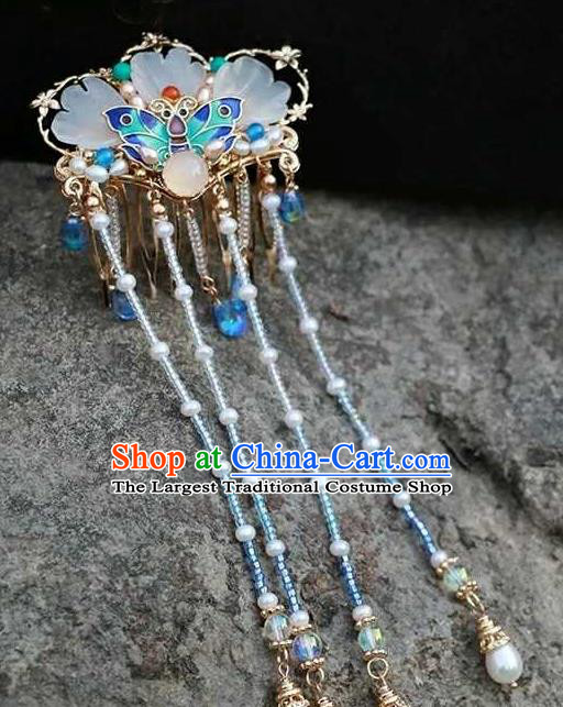 Chinese Traditional Hair Accessories Ancient Handmade Hanfu Cloisonne Tassel Hair Comb for Women