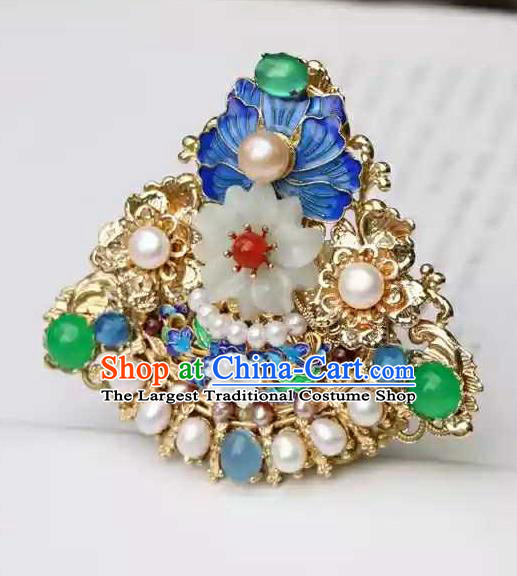 Chinese Traditional Hair Accessories Ancient Handmade Hanfu Cloisonne Hairpins Hair Crown for Women