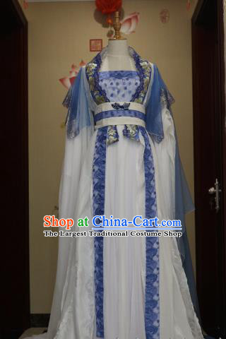Traditional Chinese Ancient Peri Blue Hanfu Dress Tang Dynasty Court Princess Embroidered Costumes for Women