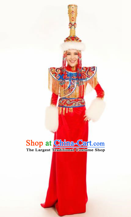 Chinese Traditional Ethnic Costumes Mongolian Minority Nationality Dance Red Dress for Women