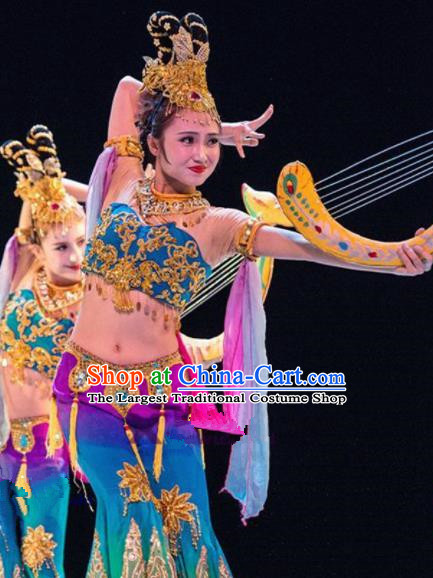 Chinese Traditional Classical Lute Dance Costumes Folk Dance Dress for Women