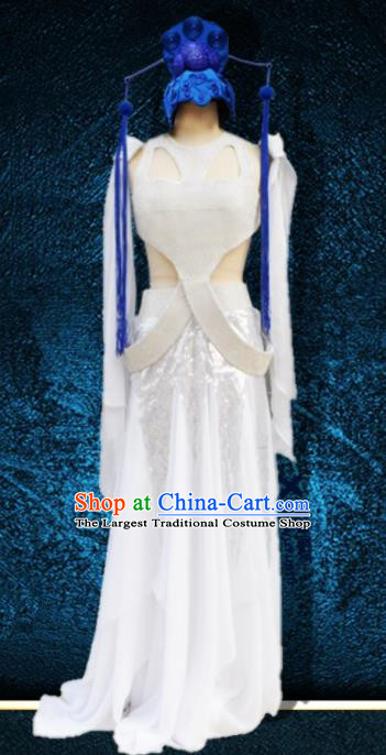 Chinese Traditional Classical Dance Costumes Stage Performance Folk Dance White Dress for Women