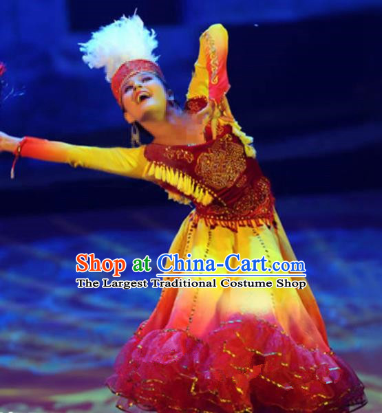 Chinese Traditional Ethnic Costumes Stage Performance Uigurian Minority Nationality Dance Dress for Women