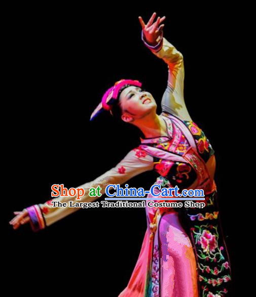 Chinese Traditional Ethnic Costumes Qiang Minority Nationality Dance Clothing for Women