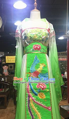 Chinese Traditional Classical Dance Costume Ancient Tang Dynasty Imperial Consort Embroidered Green Hanfu Dress for Women