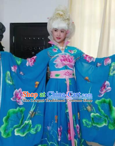 Traditional Chinese Tang Dynasty Costume Ancient Imperial Consort Embroidered Lotus Blue Hanfu Dress for Women