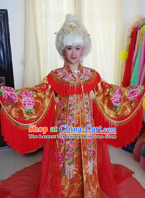 Traditional Chinese Tang Dynasty Costume Ancient Imperial Consort Embroidered Red Hanfu Dress for Women