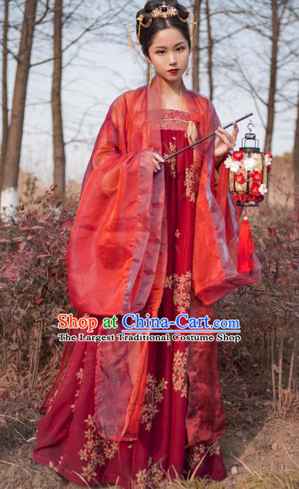 Chinese Ancient Traditional Red Hanfu Dress Tang Dynasty Imperial Consort Embroidered Costumes for Women
