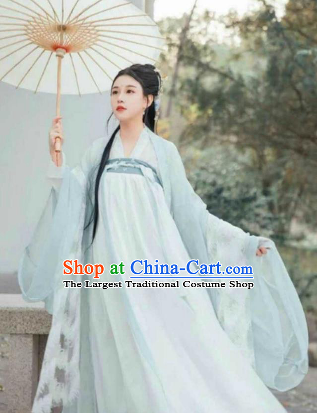 Chinese Traditional Green Hanfu Dress Ancient Tang Dynasty Princess Embroidered Costumes for Women