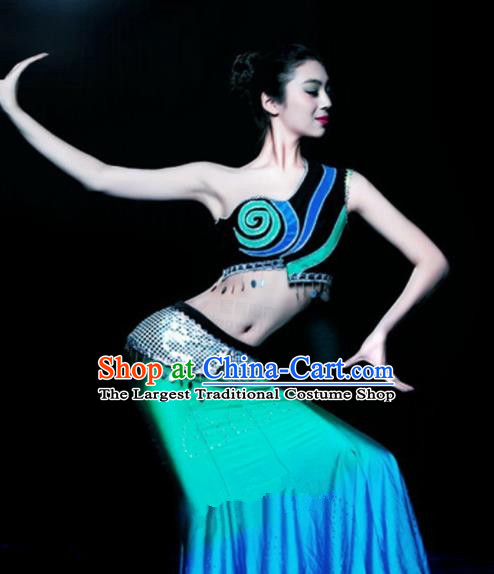 Chinese Traditional Ethnic Costumes Dai Minority Nationality Peacock Dance Dress for Women