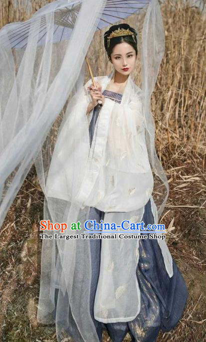 Traditional Chinese Ancient Peri Goddess Hanfu Dress Tang Dynasty Imperial Consort Embroidered Costumes for Women
