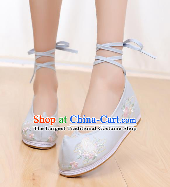 Chinese Traditional National Shoes Ancient Hanfu Shoes Green Embroidered Shoes for Women