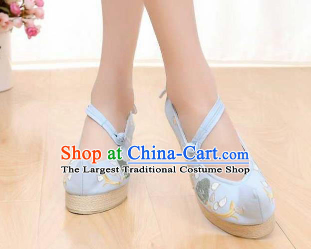 Chinese Traditional Classical Shoes Ancient Hanfu Shoes Blue Embroidered Shoes for Women
