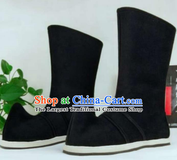 Chinese Traditional Classical Shoes Ancient Hanfu Cloth Shoes Swordsman Black Boots for Men