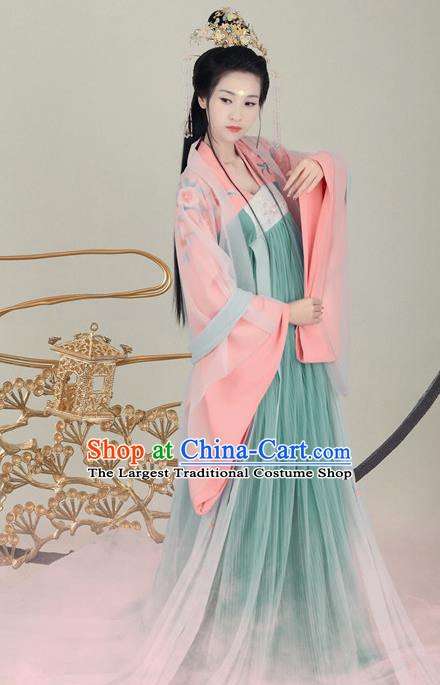 Traditional Chinese Tang Dynasty Princess Costumes Ancient Fairy Dress and Headpiece for Women