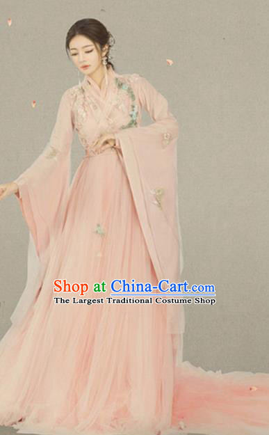 Traditional Chinese Ancient Imperial Consort Pink Costumes and Headpiece for Women