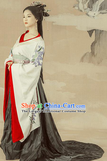 Traditional Chinese Ancient Han Dynasty Imperial Consort Costumes and Headpiece for Women