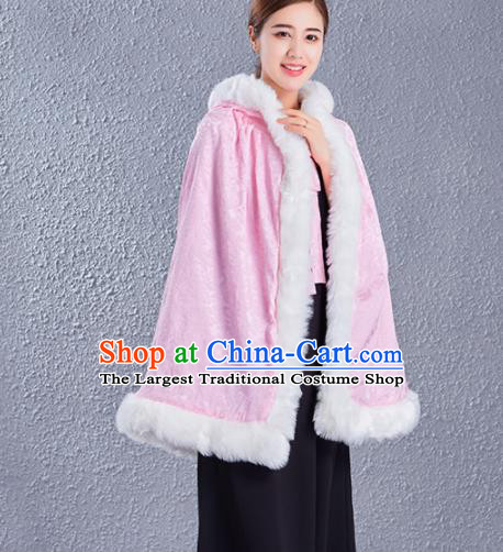 Traditional Chinese Ancient Princess Costumes Pink Satin Short Cloak for Women