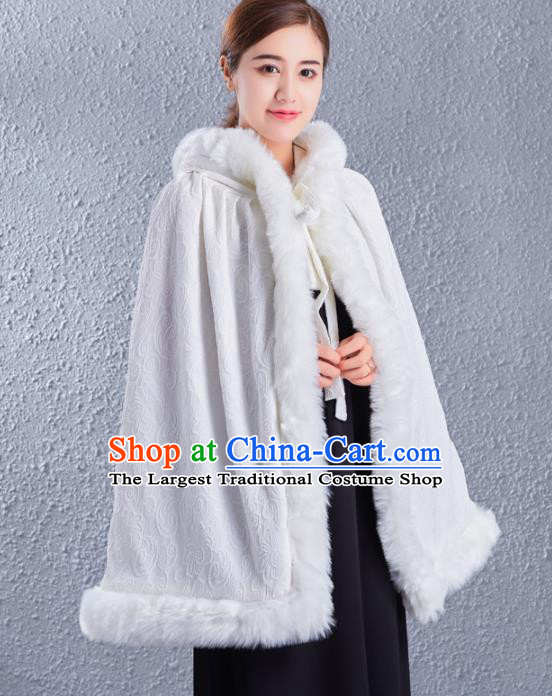 Traditional Chinese Ancient Costumes Hanfu White Cloak for Women