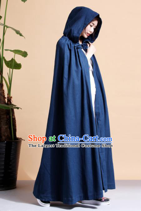 Chinese Traditional Costumes Ancient Hanfu Navy Long Cloak for Women