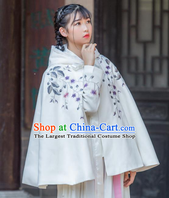 Chinese Traditional Costumes Ancient Hanfu Embroidered White Cloak for Women
