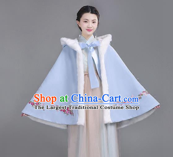 Chinese Traditional Costumes Ancient Hanfu Embroidered Blue Woolen Short Cloak for Women