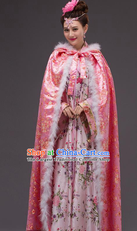 Chinese Traditional Costumes Ancient Peri Princess Hanfu Pink Cloak for Women