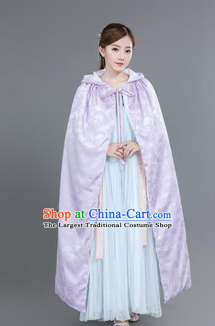 Chinese Traditional Costumes Ancient Princess Hanfu Purple Satin Cloak for Women