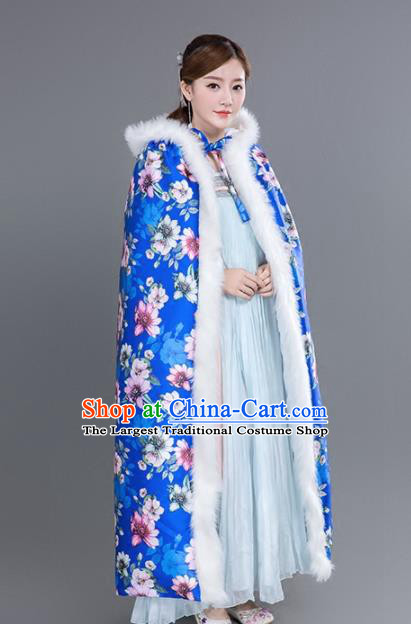 Chinese Traditional Costumes Ancient Princess Hanfu Printing Flowers Thicken Blue Cloak for Women