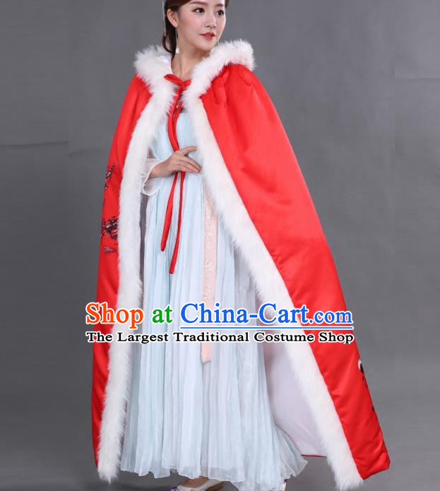 Chinese Traditional Costumes Ancient Princess Hanfu Thicken Red Brocade Cloak for Women