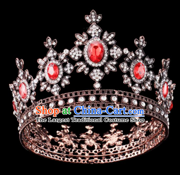 Baroque Style Hair Accessories Queen Round Crystal Royal Crown for Women