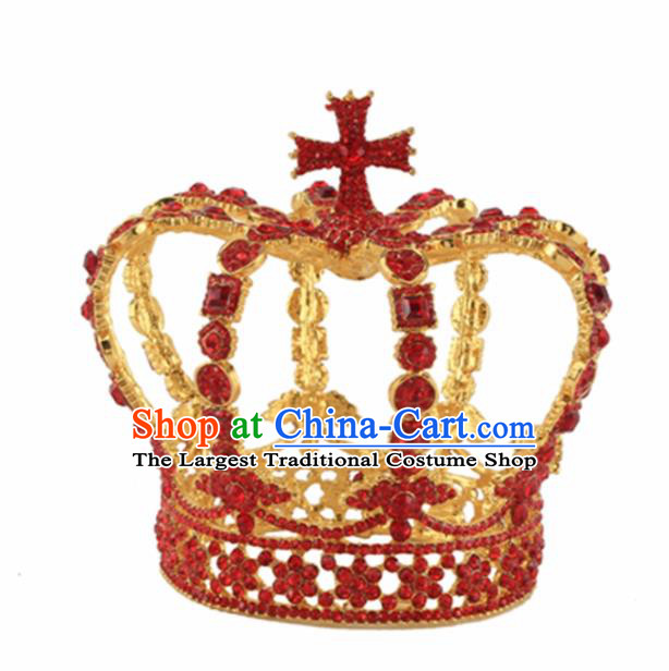 Baroque Style Hair Accessories Queen Red Crystal Round Royal Crown for Women