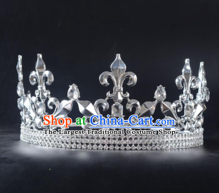 Baroque Style Hair Accessories Queen Crystal Argent Royal Crown for Women