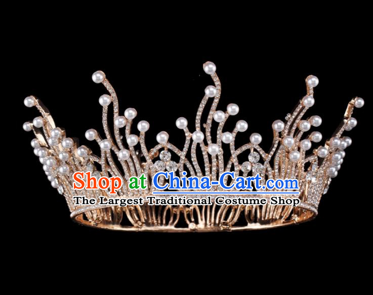 Baroque Style Bride Hair Accessories Queen Round Crystal Pearls Royal Crown for Women