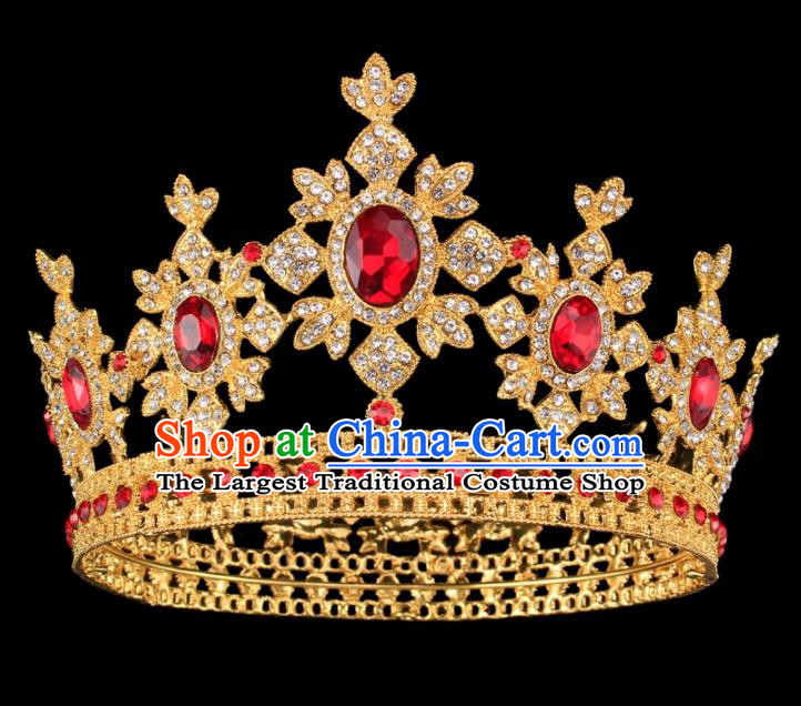 Baroque Style Bride Hair Accessories Princess Round Red Crystal Royal Crown for Women