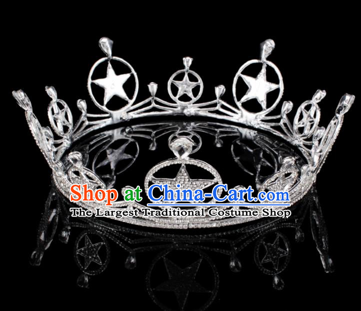 Baroque Style Bride Hair Accessories Queen Retro Crystal Stars Royal Crown for Women