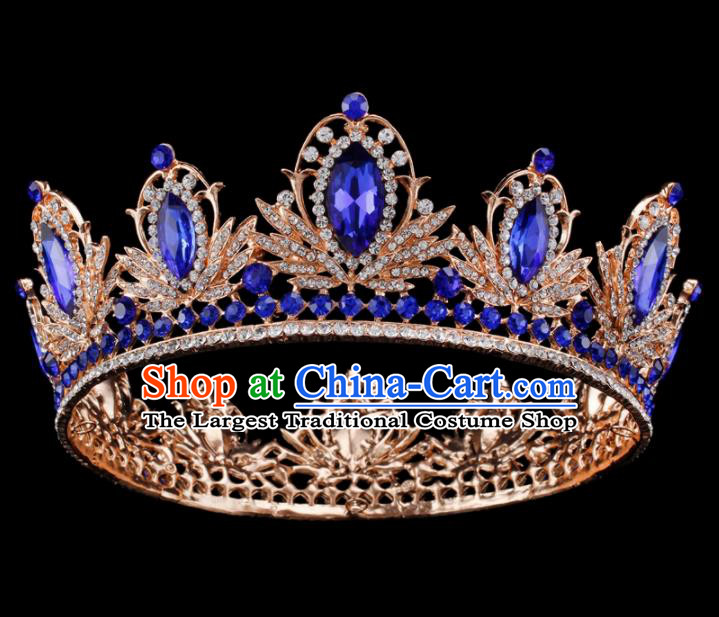 Baroque Style Bride Hair Accessories Princess Retro Blue Crystal Round Royal Crown for Women