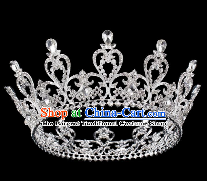 Baroque Wind Hair Accessories Princess Retro Crystal Argent Royal Crown for Women