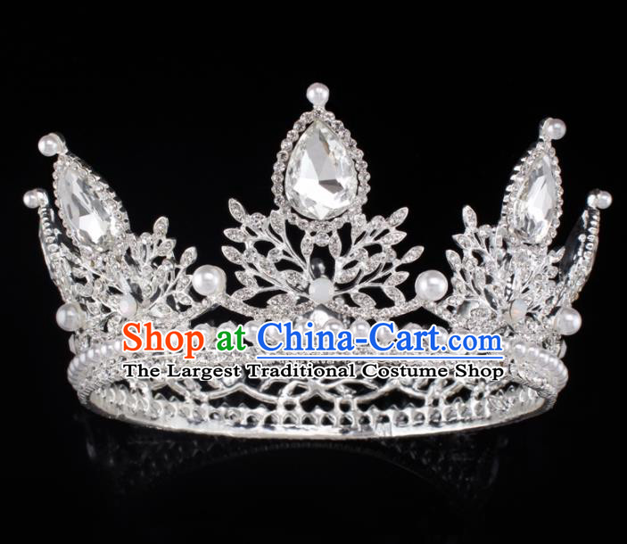 Baroque Wind Hair Accessories Princess Retro Crystal Pearls Argent Royal Crown for Women